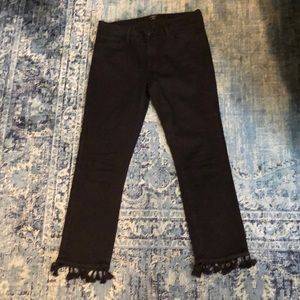 Just Black cropped jeans with tassels